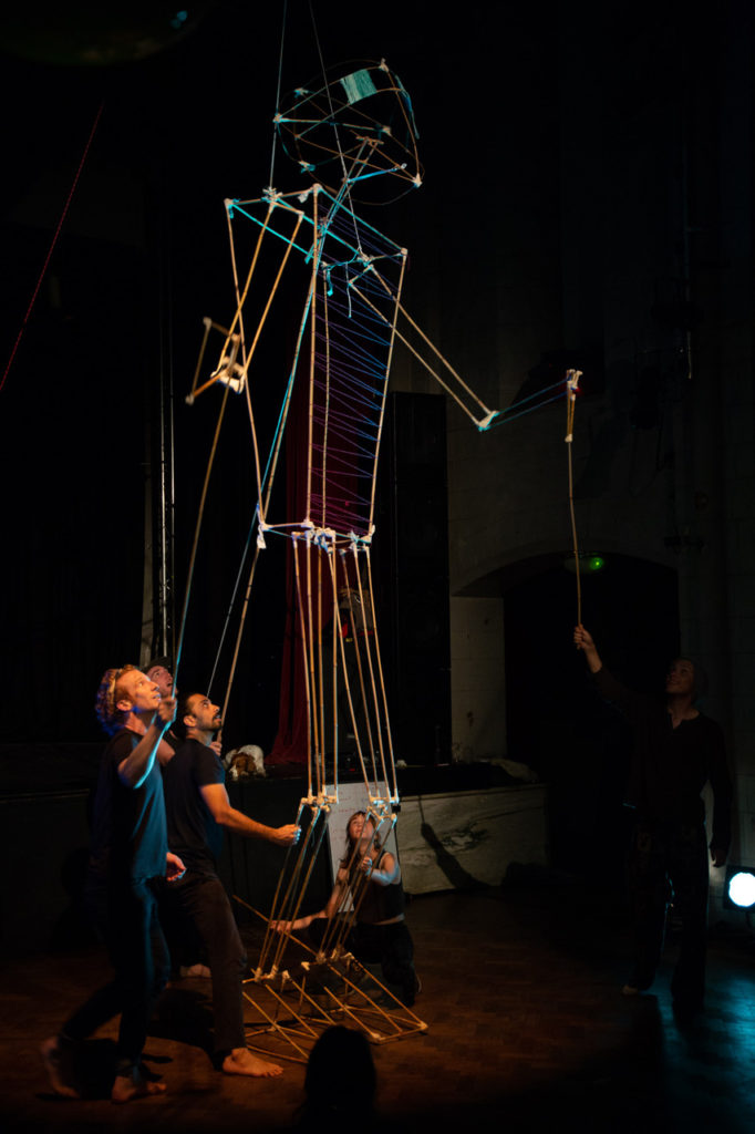 twenty-foot-tall puppet & puppeteers